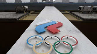 The Olympic rings are seen on the facade of the Russian Olympic Committee (ROC) building in Moscow on December 05, 2017.