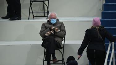 Sen. Bernie Sanders at the Biden inauguration.