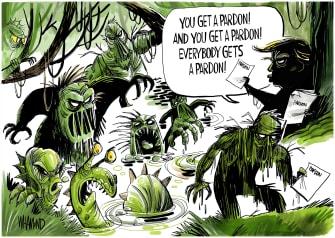 Political Cartoon U.S. Trump pardon spree drain the swamp