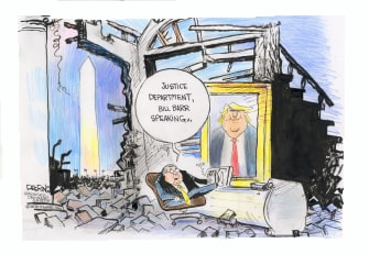 Political Cartoon U.S. Trump Barr DOJ damage