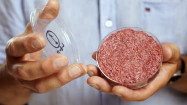 Lab-grown meat from the in-vitro burger is shown.