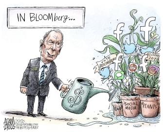 Cartoon U.S. Michael Bloomberg Facebook Twitter social media campaigning money plants