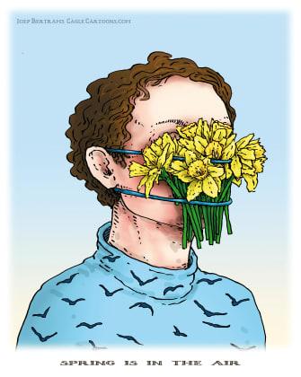 Editorial Cartoon U.S. Spring in the air mask coronavirus
