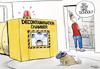 Editorial Cartoon U.S. Children School Reopening Coronavirus Pandemic
