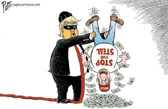 Political Cartoon U.S. trump stop the steal maga