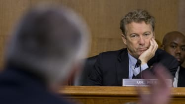 Sen. Rand Paul listens during the Senate confirmation hearings.