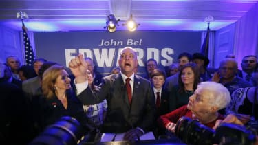 Louisiana Gov.-elect John Bel Edwards addresses his supporters.