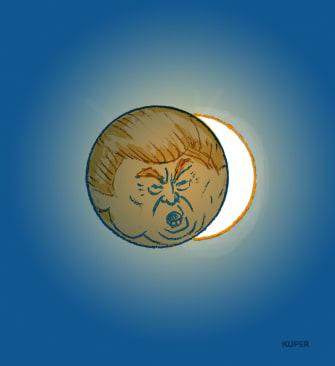 Political Cartoon U.S. Trump Democrats eclipse impeachment acquittal cover up power