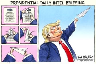 Political Cartoon U.S. Trump daily briefings paper airplane