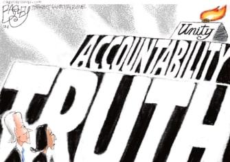 Political Cartoon U.S. biden harris unity