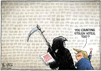 Political Cartoon U.S. Trump COVID deaths election
