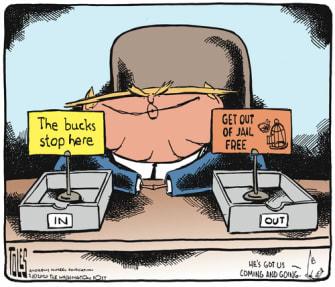 Political Cartoon U.S. Trump Monopoly filing system