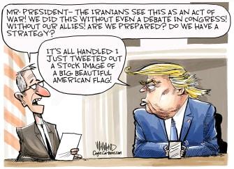 Political Cartoon U.S. Trump Iran Strike Response Strategy Tweet