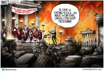 Political Cartoon U.S. Democrats defund the police Nero Rome
