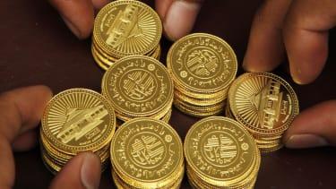 Dinar, or Arabic gold coins.