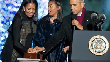 The Obamas light their final White House Christmas tree