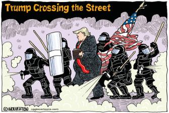 Political Cartoon U.S. Trump Church Bible photo op