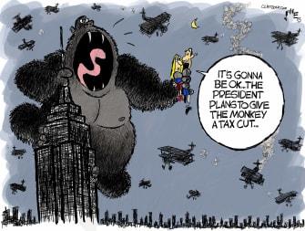 Political Cartoon U.S. Trump King Kong GOP payroll tax cuts gorilla