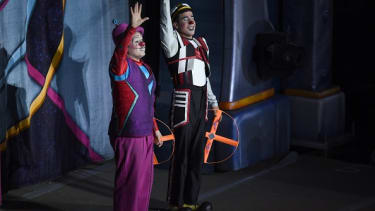 Clowns say goodbye during the final Ringling Brothers performance.