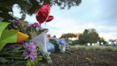 A makeshift memorial for the slain WDBJ journalists.