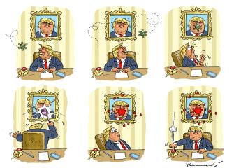 Political Cartoon U.S. Trump coronavirus contagious hits Trump