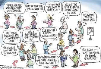 Editorial Cartoon U.S. covid shots vaccine