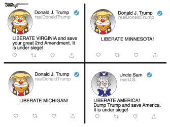 Political Cartoon U.S. Trump tweets liberate Minnesota Virginia Michigan America
