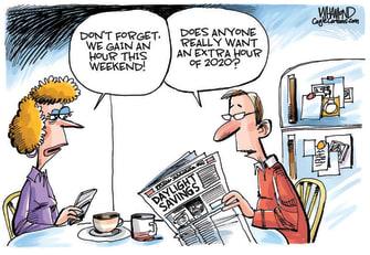 Editorial Cartoon U.S. 2020 daylight savings