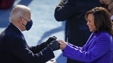 Biden and Harris fist-bump