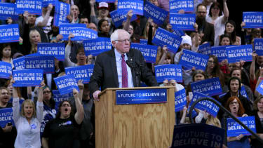 Bernie Sanders and his supporters during a rally.