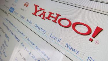 The Yahoo logo on a computer
