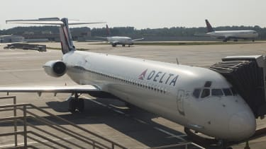 A Delta plane at the Hartsfield-Jackson Atlanta International airport.