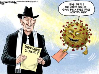 Political Cartoon U.S. Trump Roger Stone commutation coronavirus