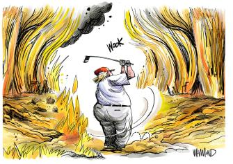 Political Cartoon U.S. Trump Golfing While The World Burns