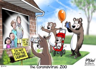 Editorial Cartoon U.S. coronavirus quarantine wild animals