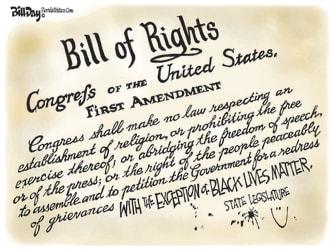 Political Cartoon U.S. first amendment black lives matter