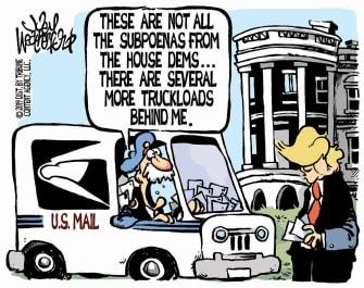 Political Cartoon U.S. Trump Whitehouse Democrat Subpoenas Impeachment
