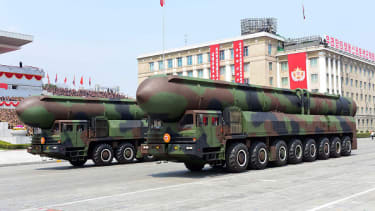 A North Korean photo of ballistic missiles being displayed in Pyongyang.