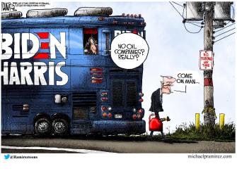 Political Cartoon U.S. Biden Harris oil companies