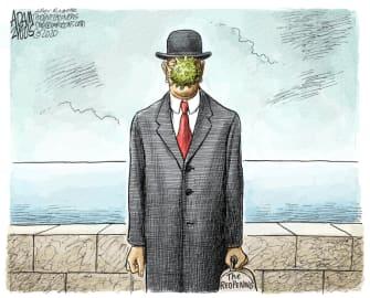 Political Cartoon U.S. rene magritte coronavirus reopening