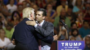Donald Trump and Donald Trump Jr. on the campaign trail in June 2016.