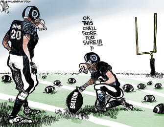 Political Cartoon U.S. football Impeachment Bolton field goal