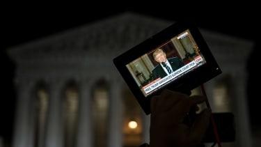 Trump seen through a camera's monitor