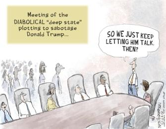 Political Cartoon U.S. Trump deep state