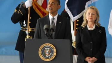 President Obama, accompanied by Secretary of State Hillary Clinton, speaks during the Transfer of Remains Ceremony on Sept. 14 for the return of the Americans killed during the Sept. 11 Bengh