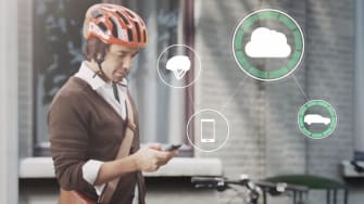 This helmet smartly warns both bikers and drivers of potential collisions