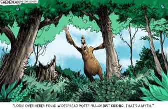 Political Cartoon U.S. Trump Bigfoot election fraud