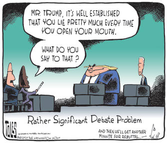 Political Cartoon U.S. President Trump Lies 2020 Election Debate Biden