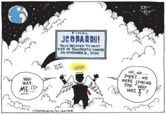 Editorial Cartoon U.S. — Final Jeopardy! Beloved TV Host Alex Trebek Died