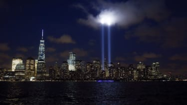 The Tribute in Light illuminated on the skyline of lower Manhattan in 2014.